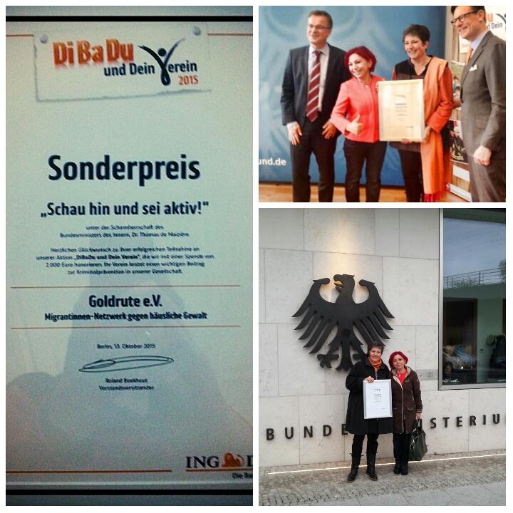 """Goldrute e. V. erhielt einen Sonderpreis der Aktion """"DiBaDu und dein Verein 2015"""" der ING-DiBa"""