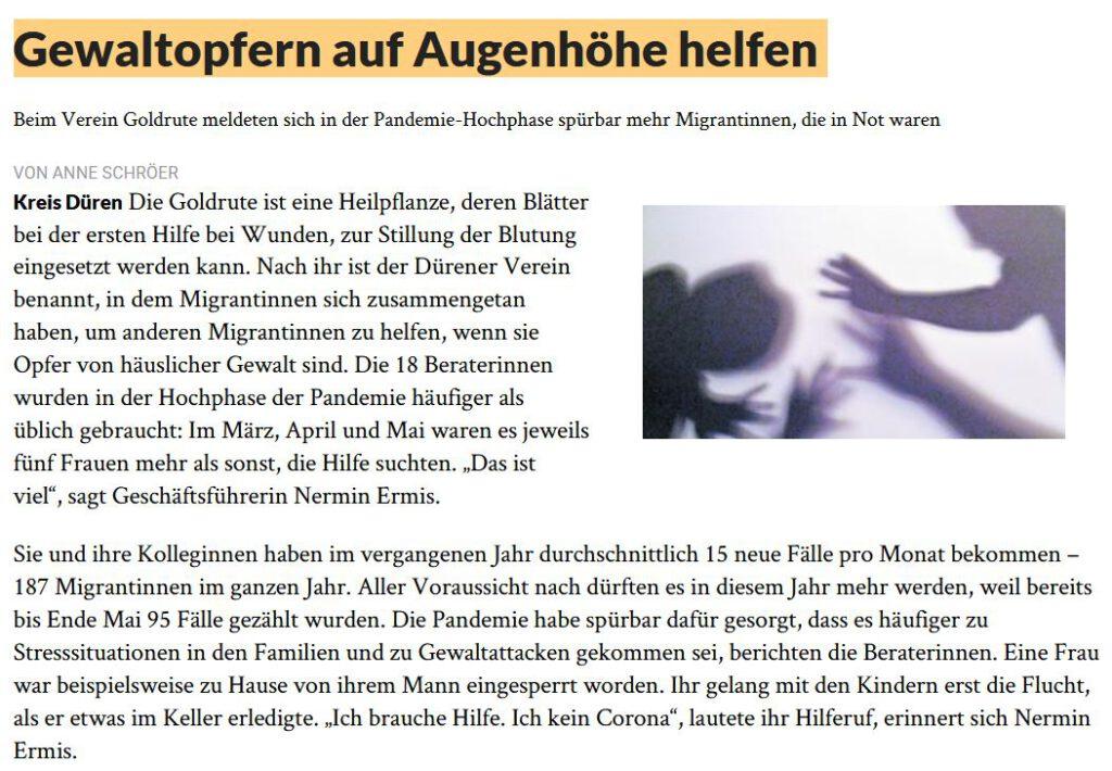 Bericht über Goldrute in der Dürener Zeitung